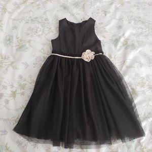 H&M Girls Black Sparkle Tulle Dress Size 7-8